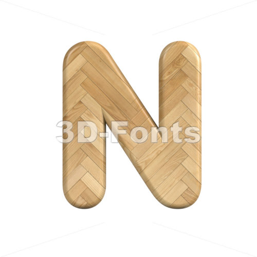 wooden parquet font N - Capital 3d letter - 3d-fonts