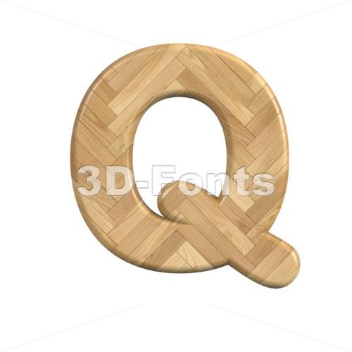 wooden parquet font Q - Upper-case 3d character - 3d-fonts
