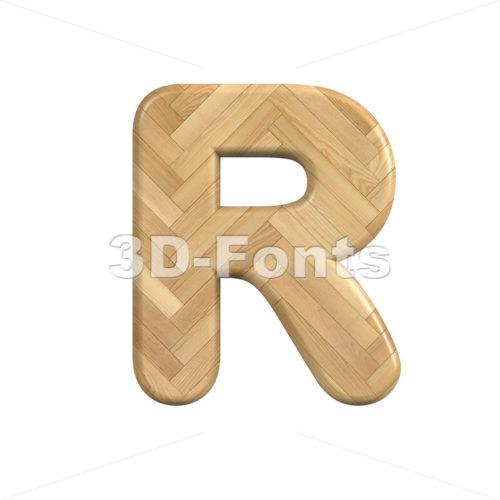 wooden parquet letter R - Uppercase 3d font - 3d-fonts
