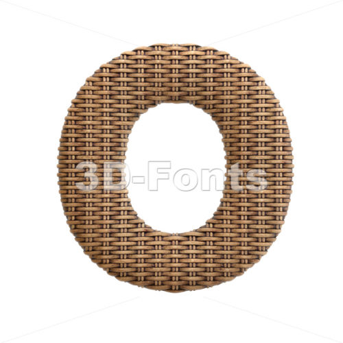 3d Upper-case letter O covered in wicker texture - 3d-fonts
