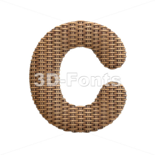 3d wicker font C - Capital 3d letter - 3d-fonts