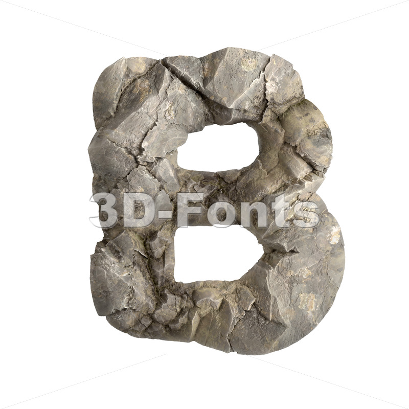 Capital stone letter B - Upper-case 3d font - 3D Fonts Collections | Top Quality Letters, Numbers and Symbols !