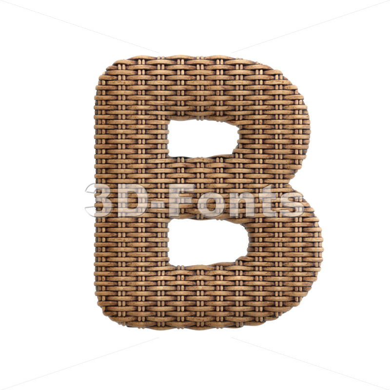 Capital wicker letter B - Upper-case 3d font - 3d-fonts