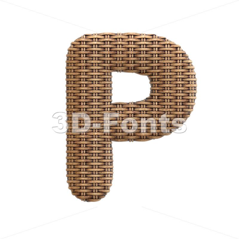 Upper-case rattan character P - Capital 3d font - 3d-fonts