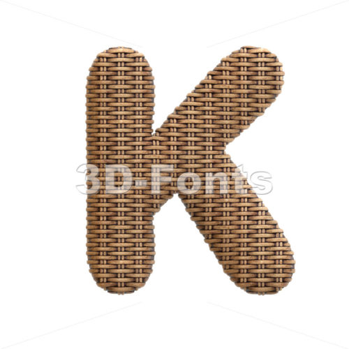 Uppercase wicker letter K - Capital 3d font - 3d-fonts