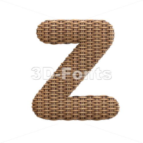 rattan alphabet letter Z - Upper-case 3d font - 3d-fonts
