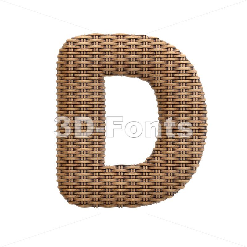 rattan font D - Capital 3d character - 3d-fonts