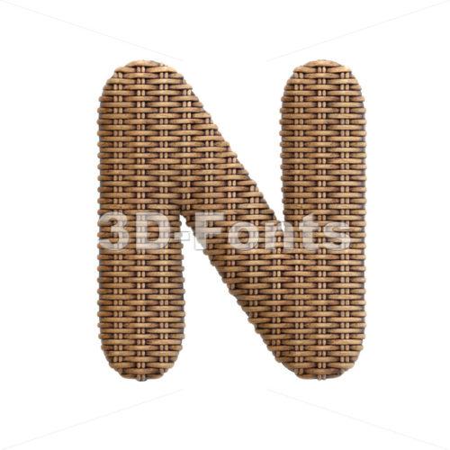 rattan font N - Capital 3d letter - 3d-fonts