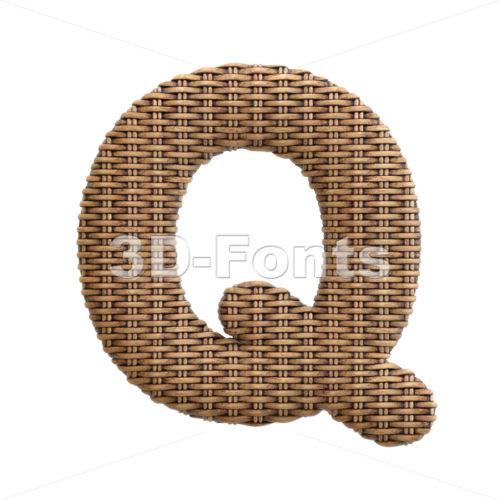 rattan font Q - Upper-case 3d character - 3d-fonts