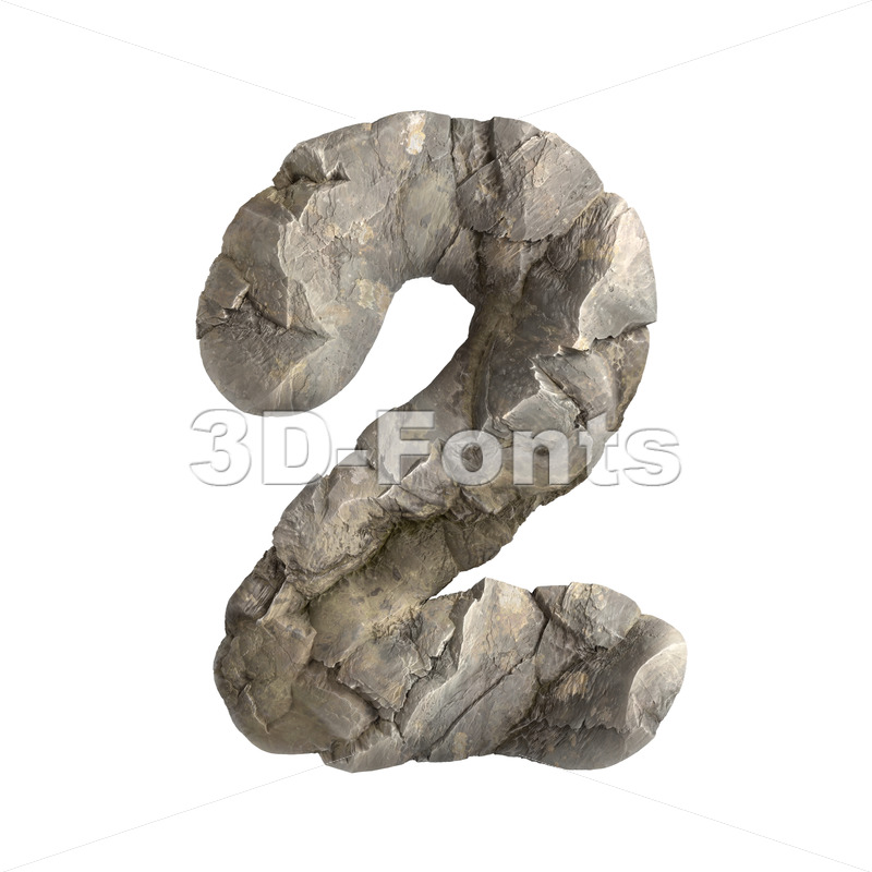 rock digit 2 - 3d number - 3D Fonts Collections | Top Quality Letters, Numbers and Symbols !