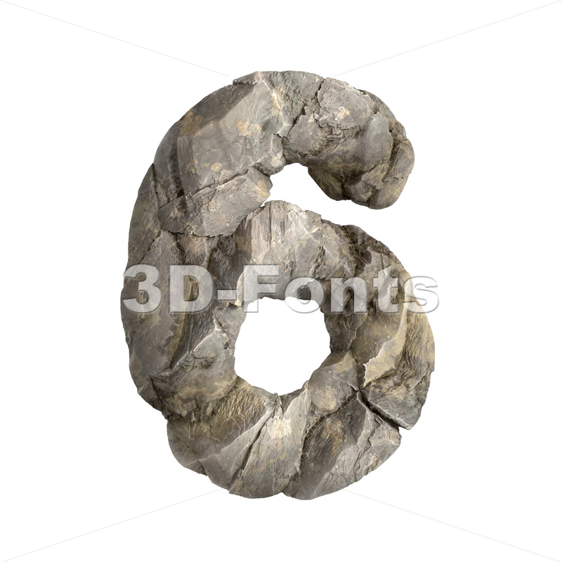 rock digit 6 - 3d number - 3D Fonts Collections | Top Quality Letters, Numbers and Symbols !