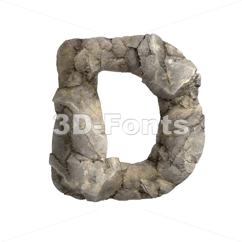 rock font D - Capital 3d character - 3D Fonts Collections | Top Quality Letters, Numbers and Symbols !