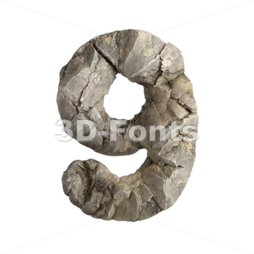 rock number 9 - 3d digit - 3D Fonts Collections | Top Quality Letters, Numbers and Symbols !