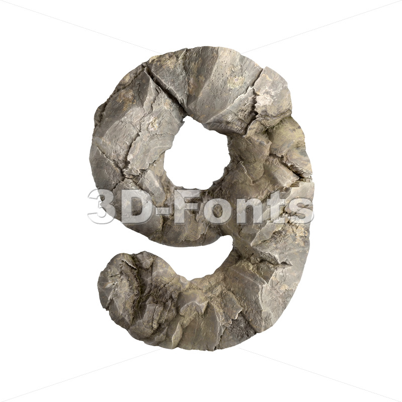 rock number 9 - 3d digit - 3D Fonts Collections   Top Quality Letters, Numbers and Symbols !