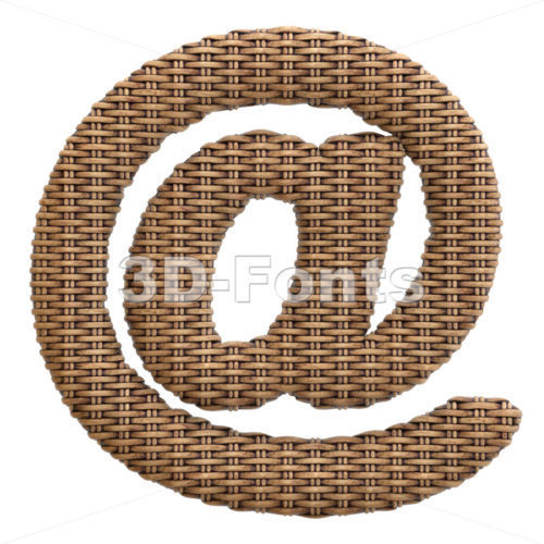 wicker at-sign - 3d arobase symbol - 3d-fonts