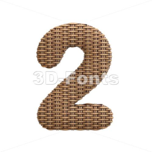 wicker digit 2 - 3d number - 3d-fonts