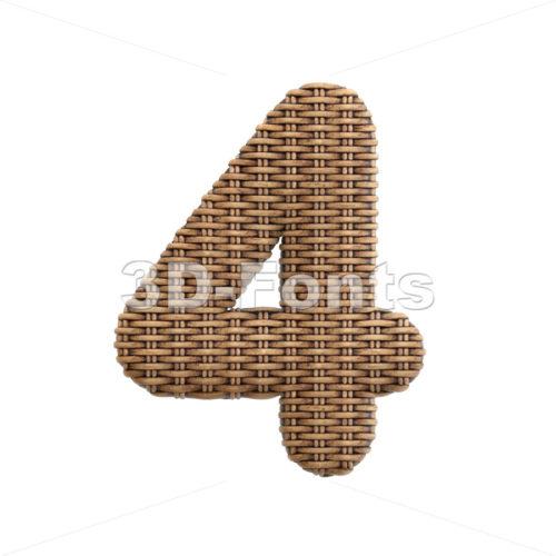wicker digit 4 - 3d number - 3d-fonts