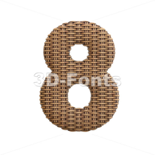 wicker digit 8 - 3d number - 3d-fonts
