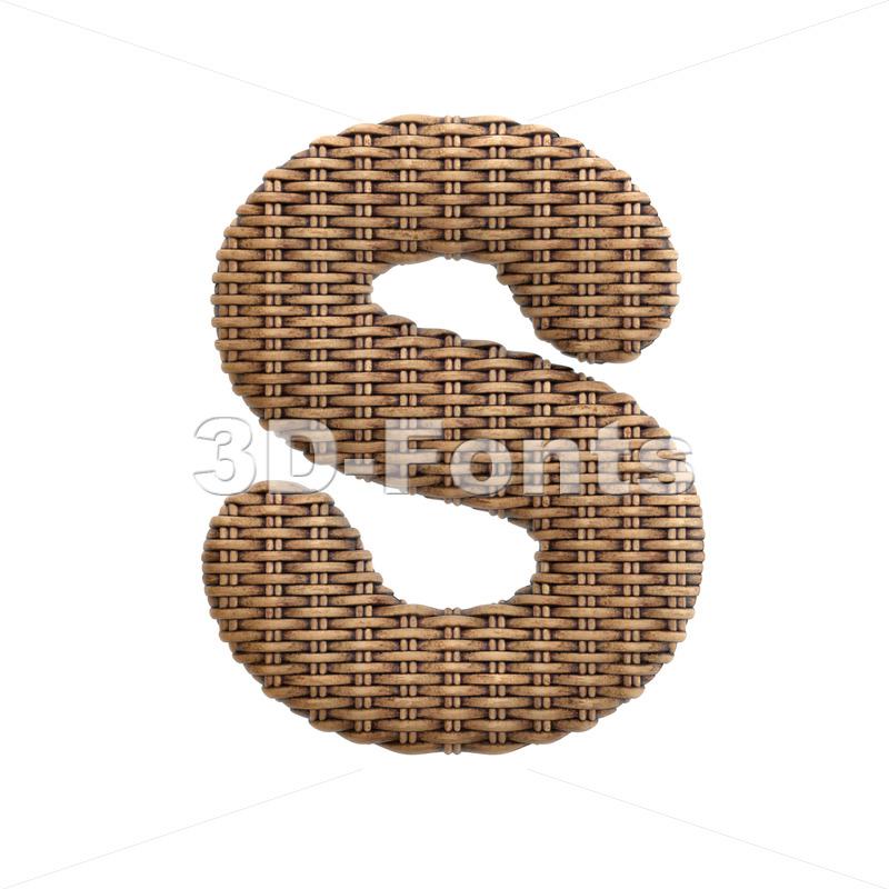wicker font S - Uppercase 3d letter - 3d-fonts