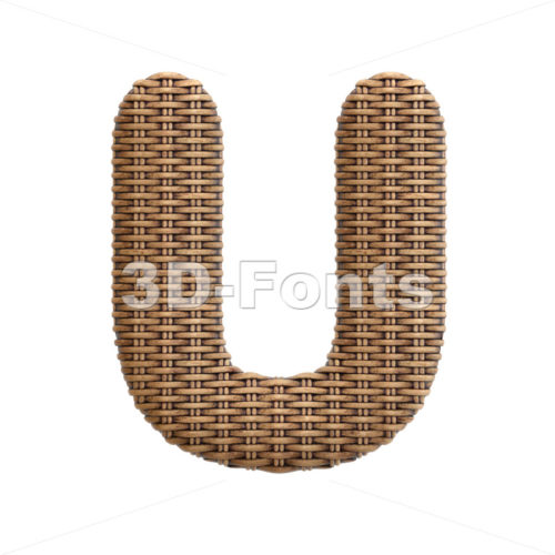 wicker letter U - Capital 3d font - 3d-fonts