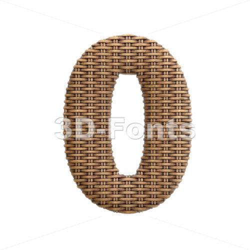 wicker number 0 - 3d digit - 3d-fonts