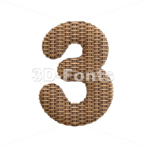 wicker number 3 - 3d digit - 3d-fonts