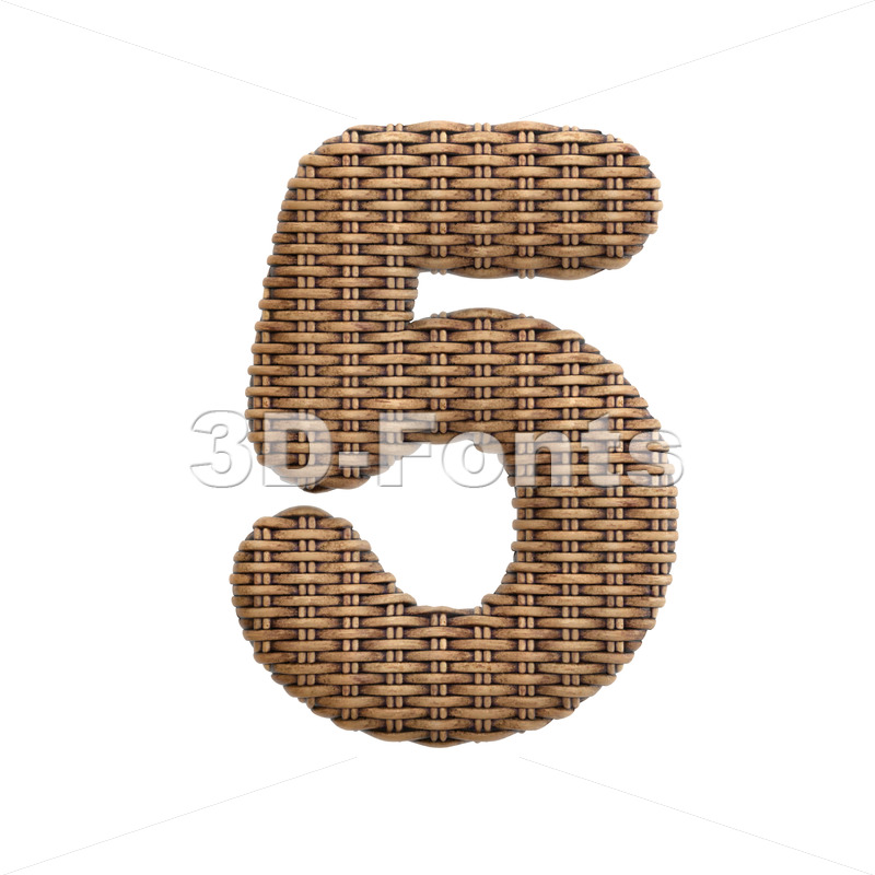 wicker number 5 - 3d digit - 3d-fonts