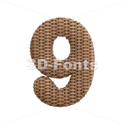 wicker number 9 - 3d digit - 3d-fonts