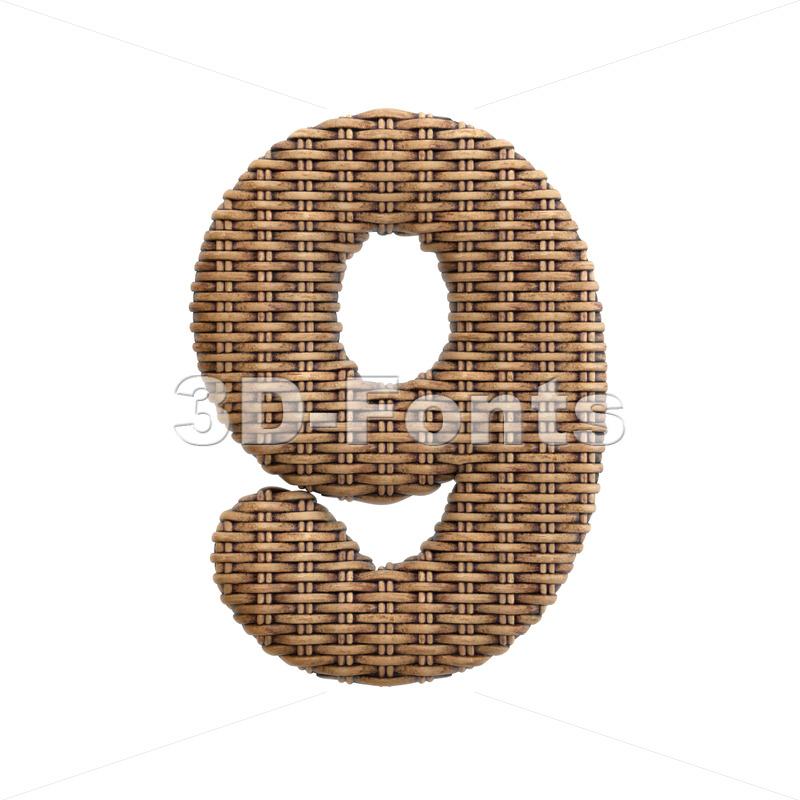 wicker number 9 - 3d digit - 3d-fonts