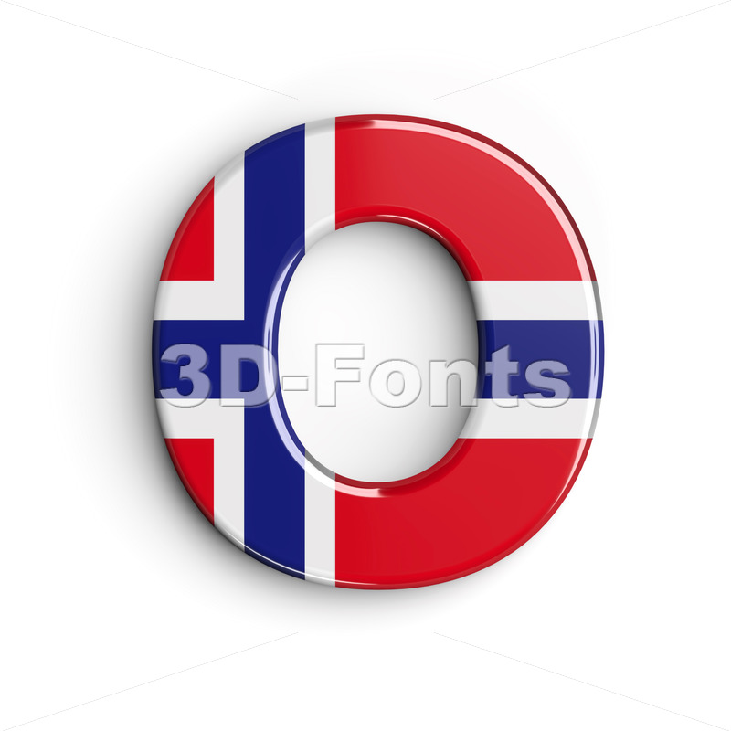 3d Upper-case letter O covered in Norway texture - 3D Fonts Collections   Top Quality Letters, Numbers and Symbols !