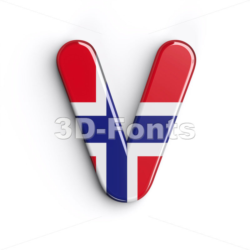 Capital Norway letter V - Upper-case 3d character - 3D Fonts Collections | Top Quality Letters, Numbers and Symbols !