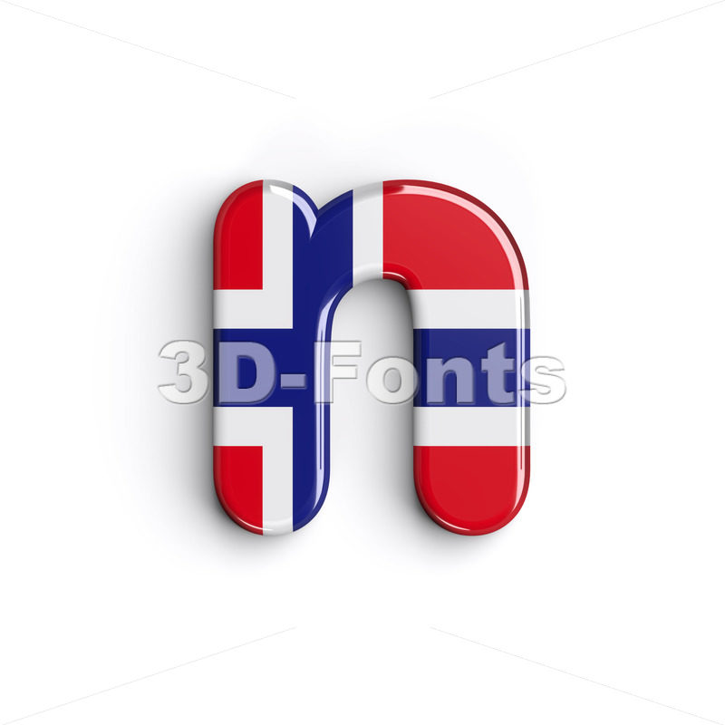 Lower-case Norway letter N - Small 3d font - 3D Fonts Collections | Top Quality Letters, Numbers and Symbols !
