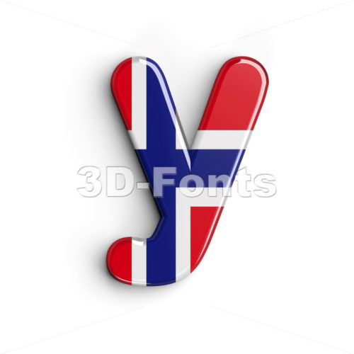 Lowercase norwegian flag character Y - Small 3d letter - 3D Fonts Collections | Top Quality Letters, Numbers and Symbols !