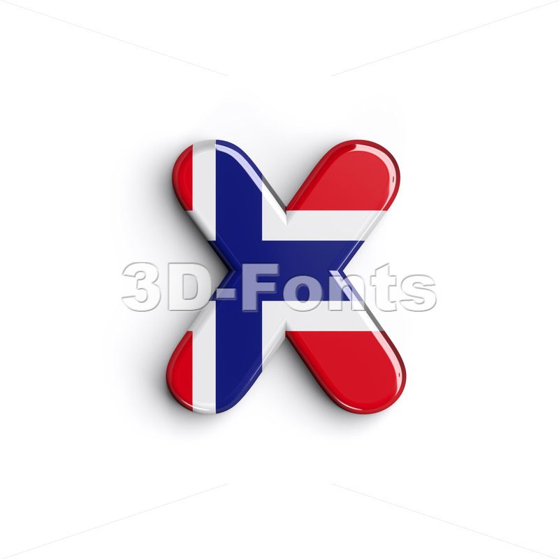 Norway 3d font X - Small 3d letter - 3D Fonts Collections | Top Quality Letters, Numbers and Symbols !