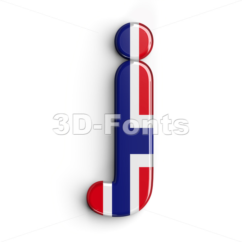 Norway alphabet character J - Lowercase 3d font - 3D Fonts Collections | Top Quality Letters, Numbers and Symbols !
