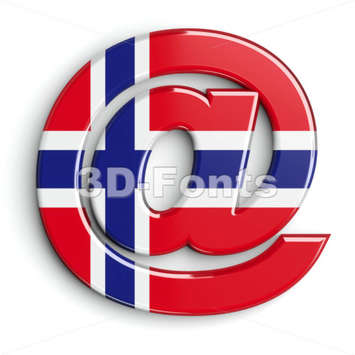 Norway at-sign - 3d arobase symbol - 3D Fonts Collections | Top Quality Letters, Numbers and Symbols !