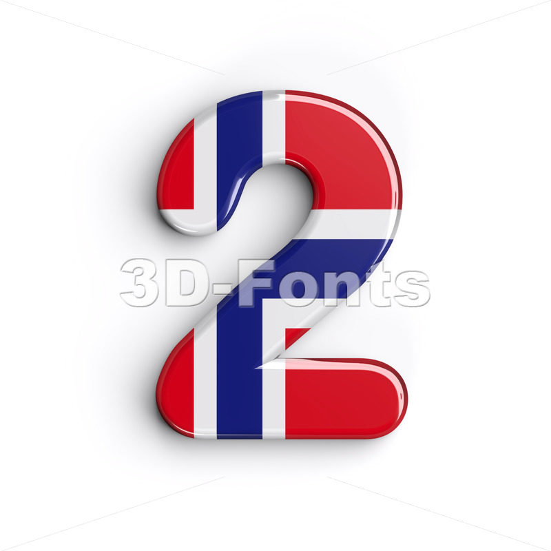 Norway digit 2 - 3d number - 3D Fonts Collections | Top Quality Letters, Numbers and Symbols !