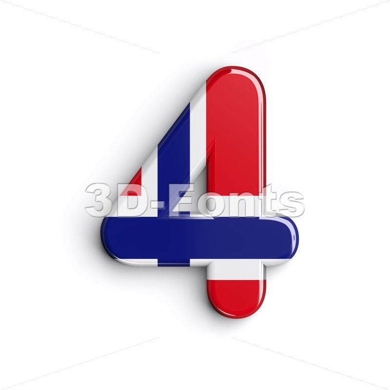 Norway digit 4 - 3d number - 3D Fonts Collections | Top Quality Letters, Numbers and Symbols !