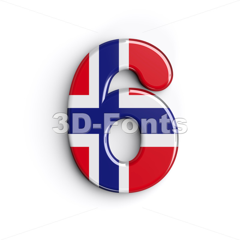 Norway digit 6 - 3d number - 3D Fonts Collections | Top Quality Letters, Numbers and Symbols !