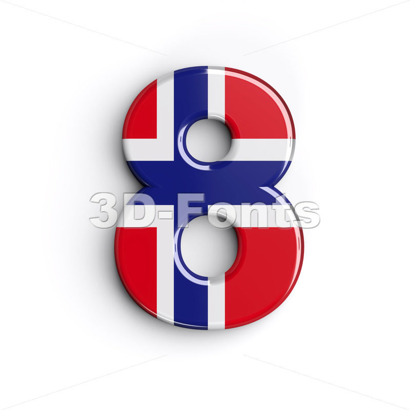 Norway digit 8 - 3d number - 3D Fonts Collections | Top Quality Letters, Numbers and Symbols !