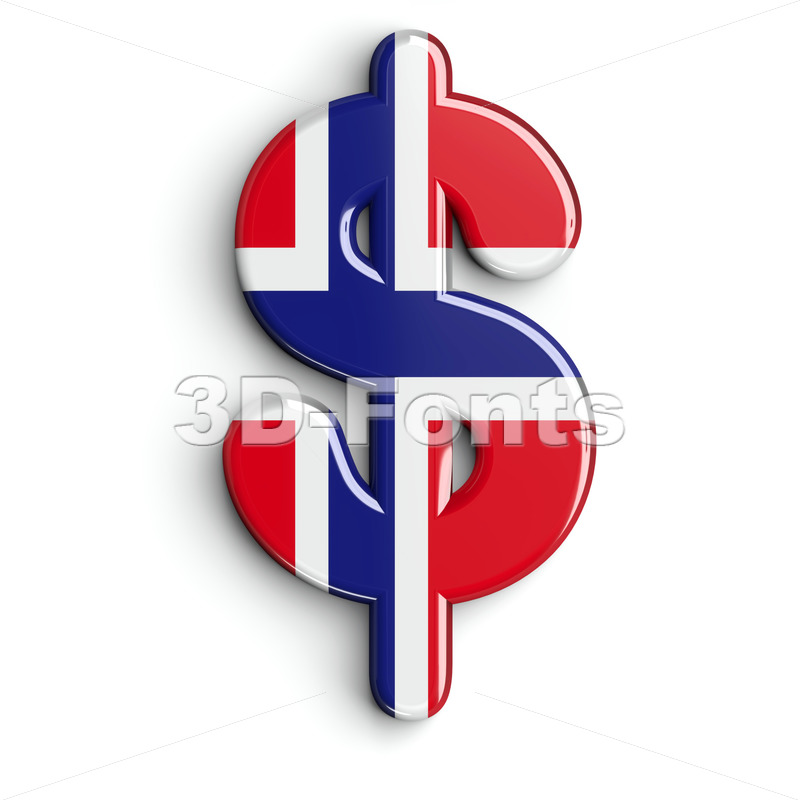 Norway dollar currency sign - 3d money symbol - 3D Fonts Collections | Top Quality Letters, Numbers and Symbols !