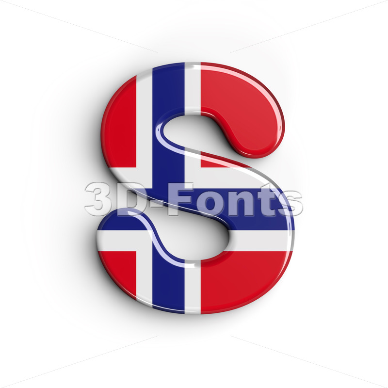 Norway font S - Uppercase 3d letter - 3D Fonts Collections | Top Quality Letters, Numbers and Symbols !