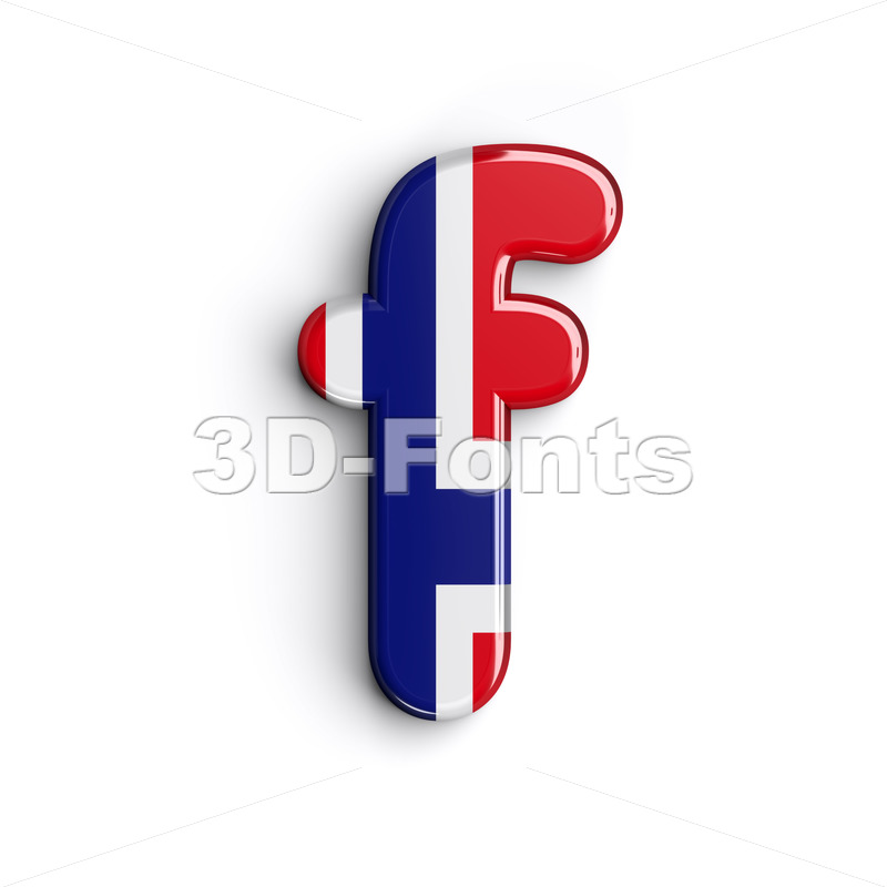 Norway letter F - Small 3d font - 3D Fonts Collections | Top Quality Letters, Numbers and Symbols !