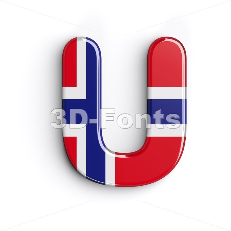 Norway letter U - Capital 3d font - 3D Fonts Collections | Top Quality Letters, Numbers and Symbols !