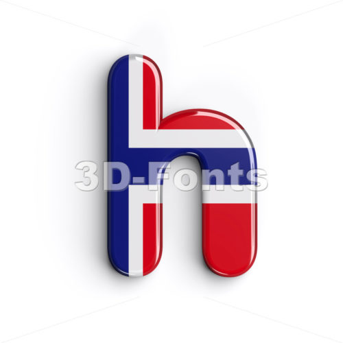 Norway national flag font H - Lower-case 3d letter - 3D Fonts Collections | Top Quality Letters, Numbers and Symbols !