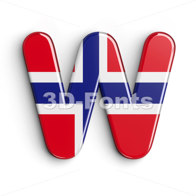 Norway national flag font W - Capital 3d letter - 3D Fonts Collections | Top Quality Letters, Numbers and Symbols !