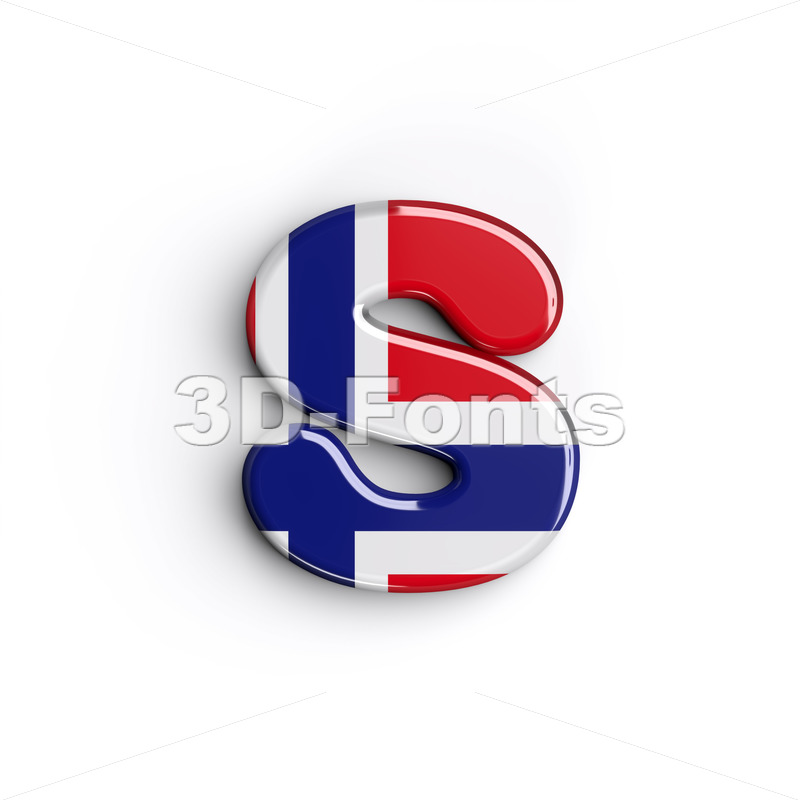 Norway national flag letter S - Lowercase 3d font - 3D Fonts Collections | Top Quality Letters, Numbers and Symbols !