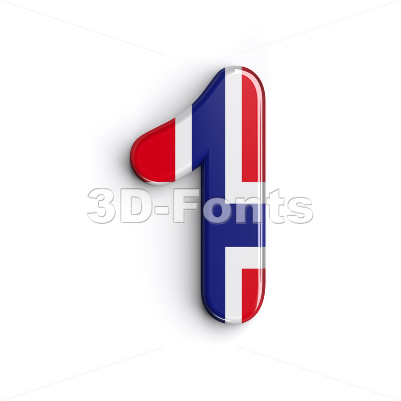 Norway number 1 - 3d digit - 3D Fonts Collections | Top Quality Letters, Numbers and Symbols !