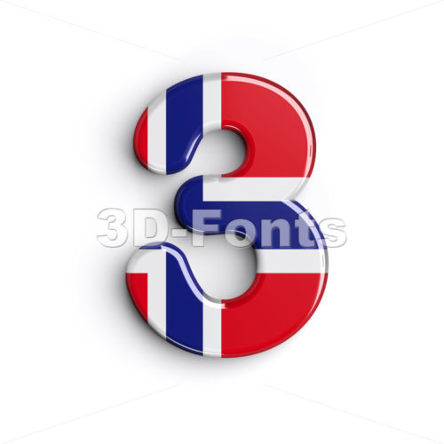 Norway number 3 - 3d digit - 3D Fonts Collections | Top Quality Letters, Numbers and Symbols !