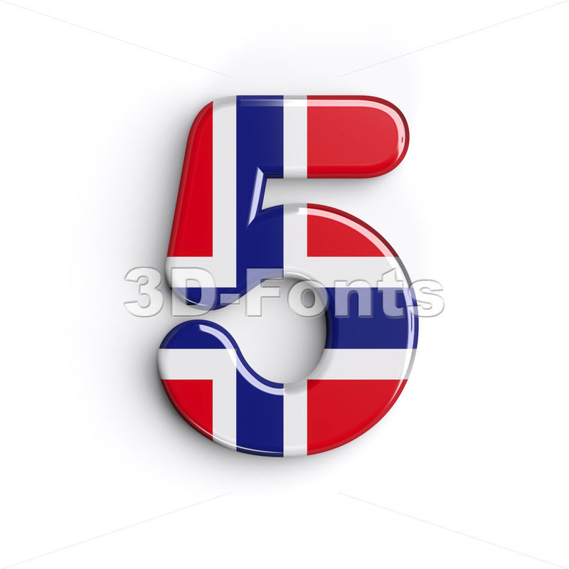 Norway number 5 - 3d digit - 3D Fonts Collections | Top Quality Letters, Numbers and Symbols !